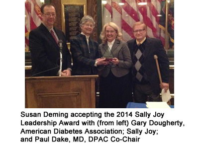 Susan Deming accepting the 2014 Sally Joy Leadership Award with (from left) Gary Dougherty, American Diabetes Association; Sally Joy; Suan Deming; and Paul Dake, MD, DPAC Co-Chair