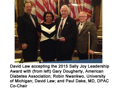 David Law accepting the 2015 Sally Joy Leadership Award with (from left) Gary Dougherty, American Diabetes Association; Robin Nwankwo; David Law; and Paul Dake, MD, DPAC Co-Chair