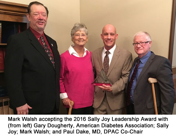 Mark Walsh accepting the 2016 Sally Joy Leadership Award with (from left) Gary Dougherty, American Diabetes Association; Sally Joy; Mark Walsh; and Paul Dake, MD, DPAC Co-Chair